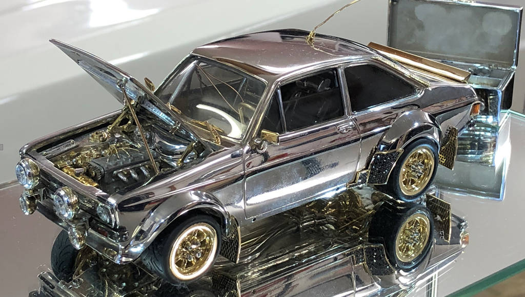 Ford Escort scale model made of precious stones and gold