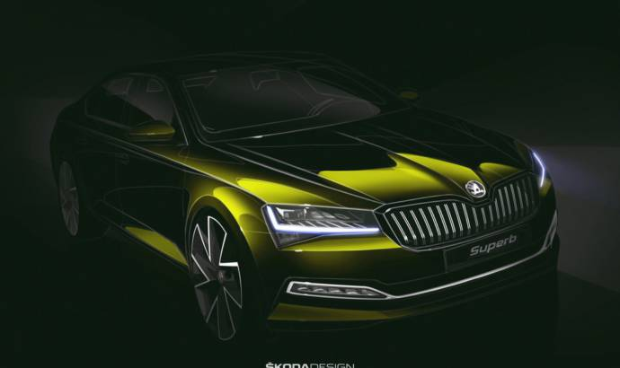 First official sketch for the revised Skoda Superb